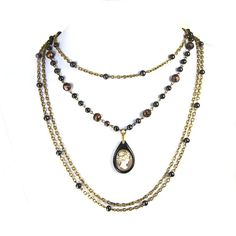 """MEMENTO Multiple Chain Bib Necklace Victorian Mourning Cameo Whitby Jet Pendant Black Pearls Baroque """"Altered Heirlooms"""" by Nouveau Motley"""