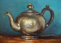 """Art Deco Teapot and Turquoise Wall,  Oil on 5""""x7"""" Linen Panel by Carolina Elizabeth"""