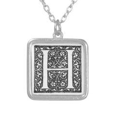 Vintage Illuminated Monogram Letter H Necklace - diy cyo customize personalize design