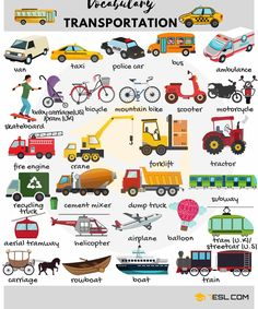 Learn common vehicles vocabulary in English. A vehicle is a mobile ma… Learn the common vocabulary of vehicles in English. A vehicle is a mobile machine that transports people or goods. Typical vehicles are … English Verbs, English Vocabulary Words, Learn English Words, Grammar And Vocabulary, English Writing, English Study, English Lessons, English Grammar, Vocabulary List