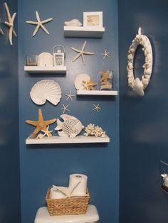 Seashell Bathroom Decor To Bring the Beach Home – Interior Decorating Colors - DIY Badezimmer Dekor Mermaid Bathroom Decor, Beach Theme Bathroom, Nautical Bathrooms, Beach Room, Beach Bathrooms, Bathroom Wall Decor, Beach Theme Rooms, Bathroom Furniture, Bathroom Theme Ideas