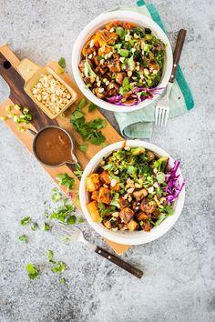 Thai Peanut Tofu & Sweet Potato Bowl  |  Keepin' It Kind
