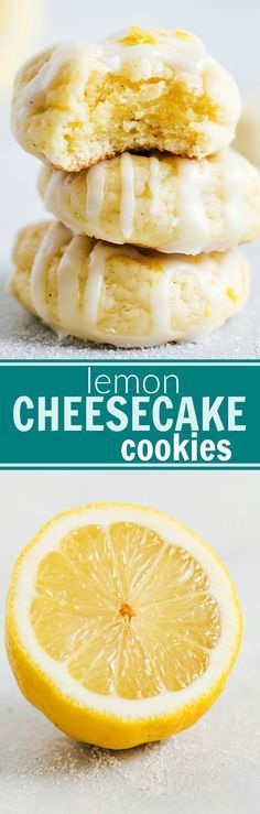 Lemon-flavored cheesecake cookies that are soft and chewy with a simple lemon glaze. These cookies are incredible!! Recipe from chelseasmessyapron.com