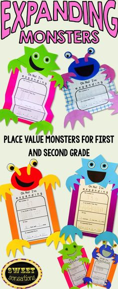 these monsters are the perfect way to demonstrate place value and expanded number form differentiated for two digit numbers for first grade and three digit numbers for second grade makes a great hal 3 - The world's most private search engine Place Value Activities, Math Place Value, Place Values, Math Activities, Place Value Projects, Maths 3e, Ks2 Maths, First Grade Crafts, First Grade Projects