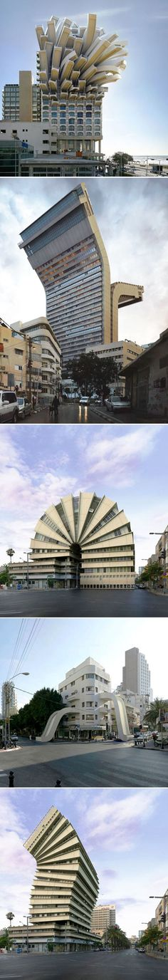 Modifications architecturales par Victor Enrich Photo by Victor Enrich (Barcelona, City Portraits is a series of architectural photographs manipulated to create impossible structures. Unusual Buildings, Interesting Buildings, Amazing Buildings, Modern Buildings, Architecture Unique, Futuristic Architecture, Interior Architecture, Interior Design, Photocollage