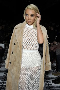 Kim Kardashian Front Row at Balenciaga [Photo by Stéphane Feugere]