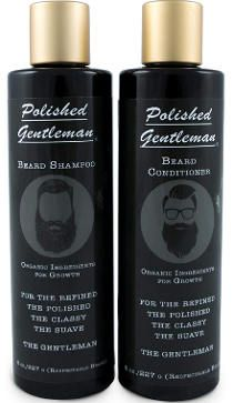 Beard growth and thickening shampoo and conditioner set for a healthy looking beard.