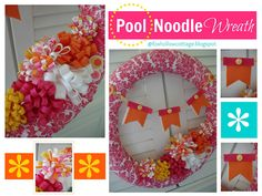 Fox Hollow Cottage: Hot Pink Summer Pool Noodle Wreath - I am so in love with this blog!  Everything about it just makes my soul relax........
