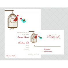 Love Bird Wedding Invitations - Style 382