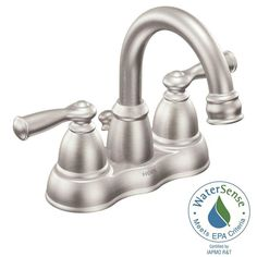 MOEN Banbury 4 in. Centerset 2-Handle Bathroom Faucet in Spot Resist Brushed Nickel - WS84913SRN - The Home Depot