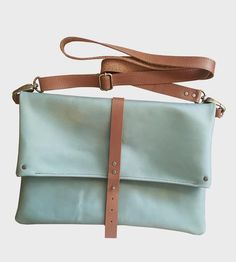 Foldover Leather Crossbody Bag, Teal by TCLA on Scoutmob Shoppe