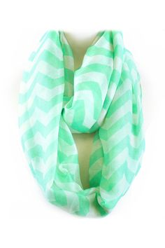 Mint Chevron Infinity Scarf - Emma Stine Limited
