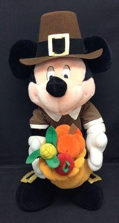 """Mickey Mouse Pilgrim Thanksgiving Plush Cornicopia Disney 17"""" #Disney"""