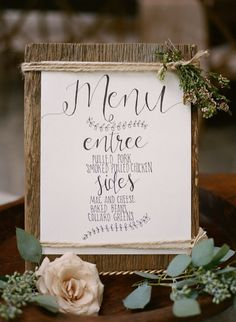 Hand lettered rustic menu with all the sweet flowers it deserves…