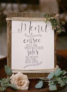 Hand lettered rustic menu with all the sweet flowers it deserves #cedarwoodweddings Charming Cottage Wedding :: Hannah+Daniel | Cedarwood Weddings
