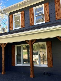 Diy shutters, house shutters, house siding, exterior wood shutters, homes w Exterior Paint Colors For House, Paint Colors For Home, Navy House Exterior, Exterior Gris, Siding Colors For Houses, Cafe Exterior, Exterior Signage, Black Exterior, Paint Colours