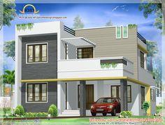Beautiful Contemporary Villa design - 163 Sq M Sq Ft) - January House Front Wall Design, Bungalow House Design, Duplex Design, Kerala House Design, Unique House Design, Indian House Plans, House Design Pictures, Model House Plan, Villa Design