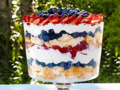 Patriotic Berry Trifle : Use store-bought angel food cake to cut down on the prep time for Sunny Anderson's colorful trifle.