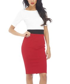 Love this White & Red Color Block Bodycon Dress by AX Paris on #zulily! #zulilyfinds