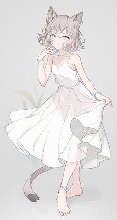 Manga Anime Girl, Anime Girl Drawings, Anime Girl Cute, Kawaii Anime Girl, Cute Drawings, Blonde Anime Girl, Anime Girl Dress, Anime Girls, Gato Anime