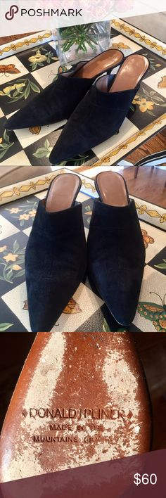Donald J Pliner Suede Mule Kitten Heels Adorable and super comfortable Kitten Heels!  Exaggerated pointed toe  These shoes are worn but in good condition No damage to the suede Donald J. Pliner Shoes Mules & Clogs