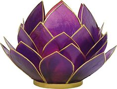 Luna Bazaar Full Bloom Capiz Lotus Candle Holder 45Inch Plum Purple  Gold GoldEdged  For Home Decor Parties and Wedding Decorations * See this great product.
