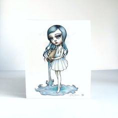 Aquarius Zodiac Girl signed 8x10 pop surrealism by mabgraves