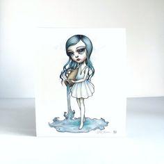 Aquarius Zodiac Girl signed 8x10 pop surrealism por mabgraves