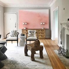 This space makes me happy. Using a large canvas to add a bold pop of ombré color to your space is a great option when you are renting or can't color commit. Image via @apartmenttherapy #ombre #pink #salmon #happyplace #livingroom