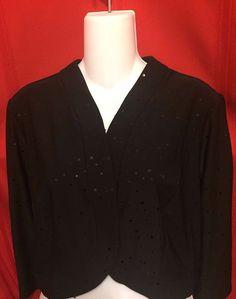 Lennie by Nina Leonard Size XL Shrug Black w Sequins 3/4 Sleeve  Poly Spandex #NinaLeonard #Shrug #Career