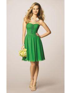 Vestidos corte strapless verdes