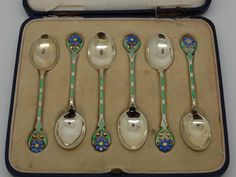 ANTIQUE SILVER AND ENAMEL SPOONS BIRMINGHAM 1931 – MAPPIN & WEBB FLOWER PATTERN