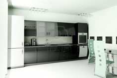 Tips to Create Modern Kitchen Designs: Mesmerizing Interior Of Black And White Modern Kitchen Ideas Combining With Contemporary Open Dining Room Furniture Also Cool Refrigerator Unit ~ boholmain.com Kitchen Design Inspiration