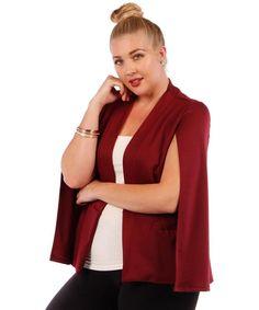 Trendy Women's Plus Size Jacket With Caped Design Burgundy Sleeveless Jacket New #YummyPlus #Cape
