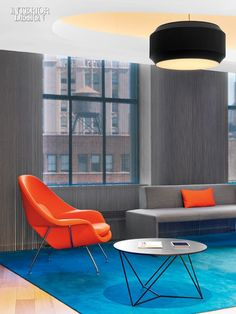 Composes a Perfect Harmony at Sony's US Headquarters Office. The Masterworks office lounge, with its Eero Saarinen chair.