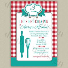 Invite friends & family to your little chefs cooking themed birthday party with this recipe card style invitation featuring a chefs hat and kitchen utensils. Choose from teal with red, purple with pink or teal with orange, or create your own color scheme to coordinate with your little chefs cooking party!    This listing is for a PRINTABLE, high resolution design. No materials will be shipped. You can print as many as you wish on your home printer, send to a professional printing company or…