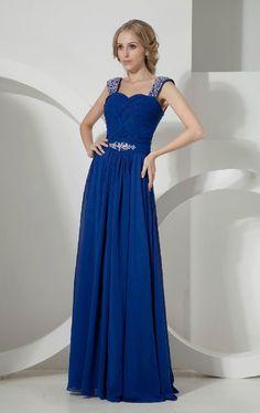 A-line Square Floor-length Dark Royal Blue Chiffon Formal Prom Dress 4ec0d52d34a9