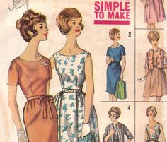 1960s Dress & Jacket Pattern Simplicity 4298 by OneMoreCupOfTea, $8.00