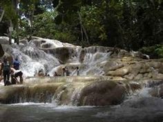 Tourists were allowed to climb this waterfall in Ocho Rios, Jamaica. My mom and I didn't but we swam with the dolphins as our exhibiton.