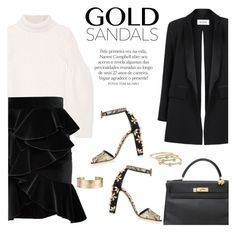 """""""Black & Gold"""" by stellaasteria ❤ liked on Polyvore featuring Hermès, Maticevski, Victoria Beckham, Balmain, Dolce&Gabbana, London Road and Blue Nile"""