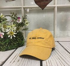Vintage EAT.SLEEP.CONTOUR. Baseball Cap Low by TheHatConnection