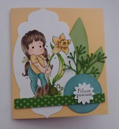 Easter card made with Magnolia stamps Tilda decorates easter and Stampin Up tiny wishes