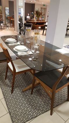 Perfect Healu0027s Span Dining Table Oak With Clear Glass Or Walnut With Smoked Glass  £1145