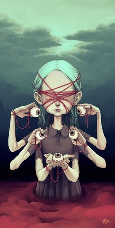 "Ilustración: ""Girl with eyeballs"" - Tiia Reijonen© #art #illustration #alucinacionesespontáneas #creemosenelasombro"