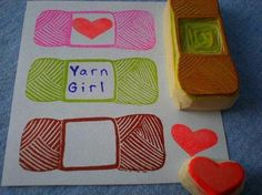 ball of yarn stamp hand carved rubber stamps handmade by StudioMo, $6.00