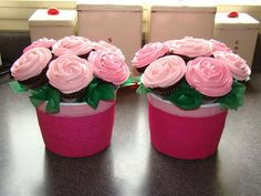 Cupcake flower pots!  Cool idea.