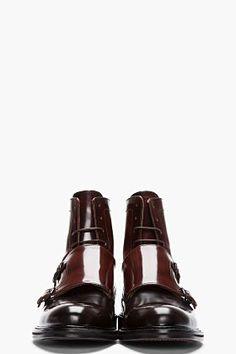 CARVEN Burgundy Two-tone Monk Strap Boots for men | SSENSE