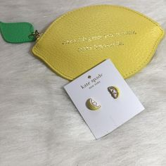 "Kate Spade Lemon Stud Earrings Kate Spade lemon stud earrings. Shiny 12 karat gold plated metal with enamel fill. Epoxy and glass stones. 14 karat gold filled posts. 0.5"". Yellow and white. This listing is for earrings only. kate spade Jewelry Earrings"