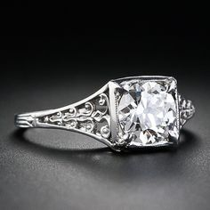 1.02 Carat Diamond and Platinum Antique Engagement Ring - click through to see the other photos of this ring, the details are FABULOUS!