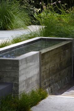 Concrete board water feature | Mark Tessier Landscape Architecture - Shiflett Residence
